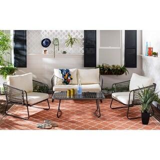 Shop 4 piece Outdoor Patio Chat Chair Wicker Conversation ... on Safavieh Ransin id=53199