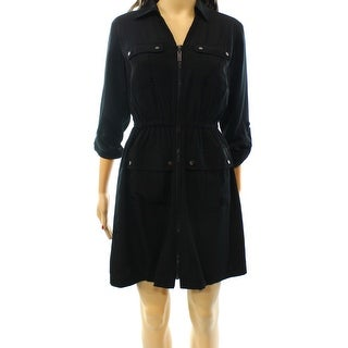 Alfani NEW Deep Black Women's Size 18 Utility Tab Sleeve Shirt Dress