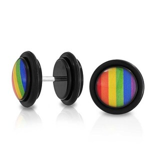 Bling Jewelry Epoxy Rainbow Gay Pride Cheater Plugs 14G Stainless Steel