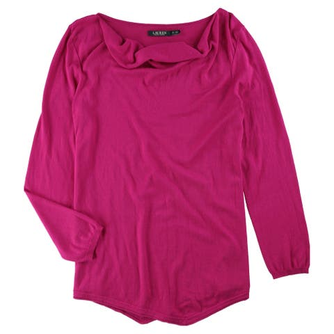 Ralph Lauren Womens Relaxed Fit Knit Sweater, Pink, X-Large