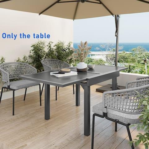 Pellebant Aluminum Rectangular Outdoor Extension Dining Table - N/A