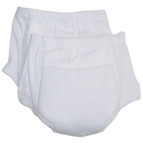 Bambini Little Unisex White Rib Knit Cotton 2-Pack Training Pants