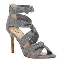 Vince Camuto Women's Chania Strappy Sandal Grey Natural Linen
