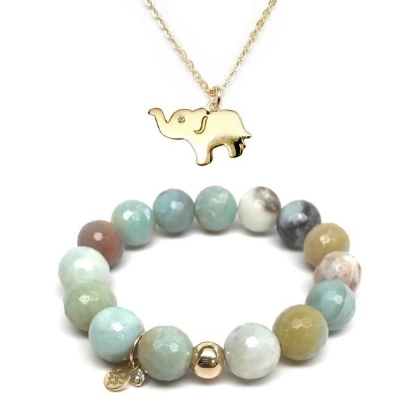 "Green Amazonite 7"" Bracelet & CZ Elephant Gold Charm Necklace Set"