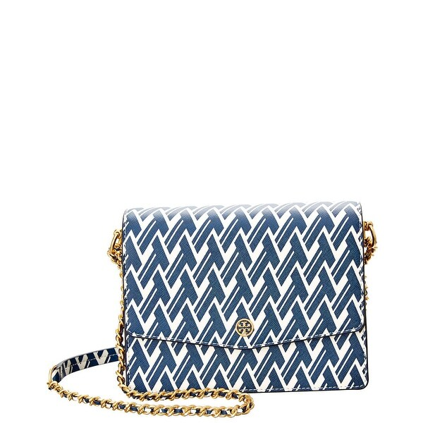 91a492a6ada Shop Tory Burch Robinson Printed Shoulder Bag-Navy T-Lattice - On Sale -  Free Shipping Today - Overstock - 26981358