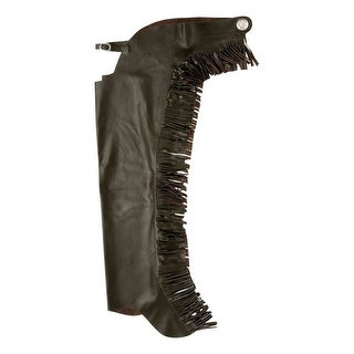 Tough-1 Western Chaps Smooth Leather Equitation Fringe Light