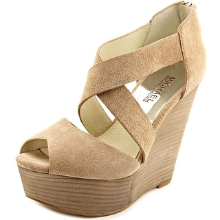Michael Michael Kors Ariel Wedge Women Open Toe Suede Nude Wedge Heel