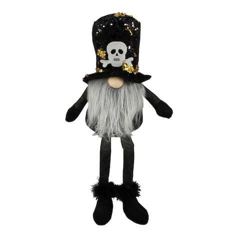 "20"" Sitting Halloween Gnome Reversible Sequin Color Black/Gold - Black"