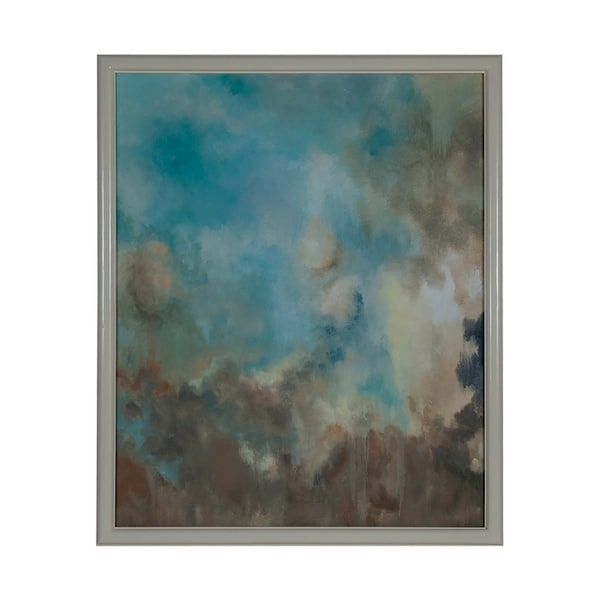 """GuildMaster 163049 64"""" by 52"""" - """"Our Clouds"""" Framed Hand Painted Art Print on Canvas - Cappuccino Foam"""