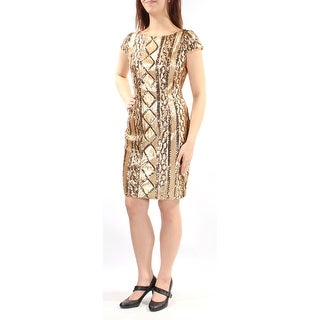 Womens Gold Cap Sleeve Above The Knee Sheath Party Dress Size: 8