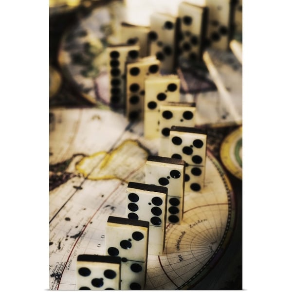 """Row of dominoes on old world map"" Poster Print"