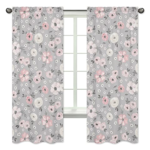 Grey Watercolor Floral 84-inch Window Treatment Curtain Panel Pair - Blush Pink Gray White Shabby Chic Rose Flower Farmhouse