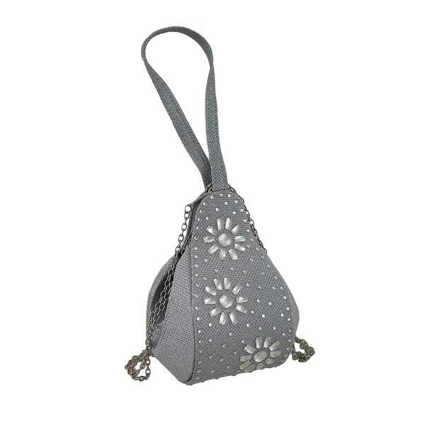 Sparkling Rhinestones and Jewel Flowers Wristlet Purse Evening Bag