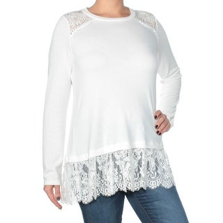 Womans White Lace Long Sleeve Jewel Neck Tunic Top Size L