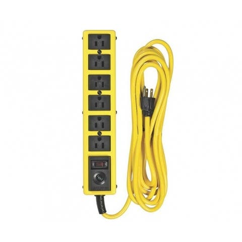Woods 5138 Jacket Surge Protector Strip, 6 Outlet, Yellow