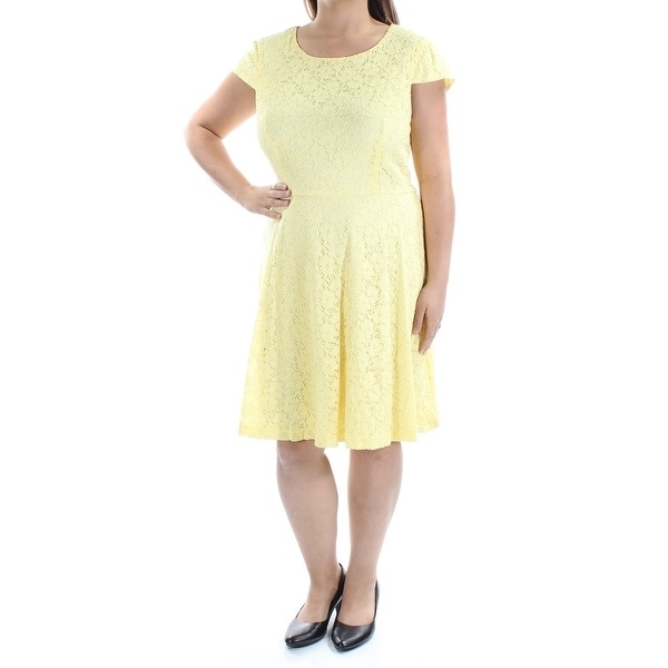 1f600bf479581 CONNECTED Womens Yellow Lace Floral Short Sleeve Scoop Neck Mini Sheath  Dress Size: 18