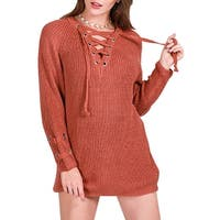 QZUnique Women Lace Up Front V Neck Knit Pullover Long Sleeves Sweater