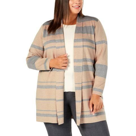 Calvin Klein Womens Plus Cardigan Sweater Striped Tricolor