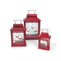 Set of 3 Red Christmas Indoor/Outdoor Tea Light Candle Lanterns 18""