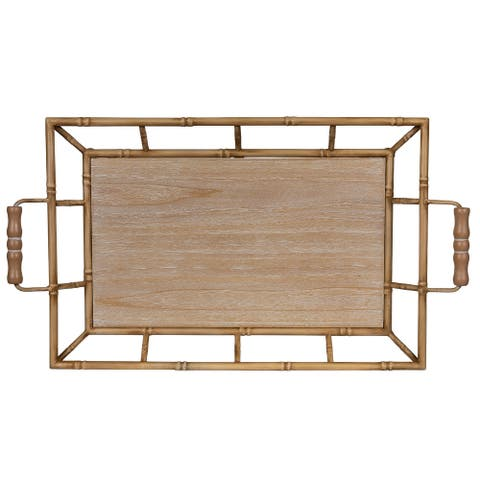 """Tropical Wooden Bamboo Tray - 3.5""""H x 21""""W x 11.5""""D"""