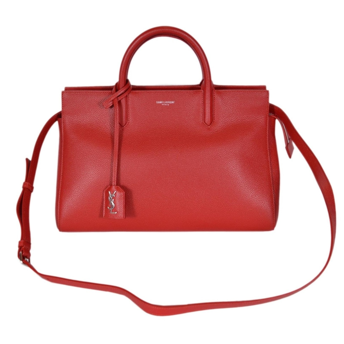 Saint Laurent YSL 400413 Small Red Leather Cabas Rive Gauche Purse Handbag 7bc100ae42b08