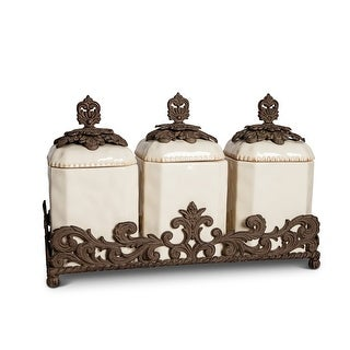 """Set of 3 Clear and Brown Acanthus Leaf Base Square Crafted Canisters 19.5"""""""