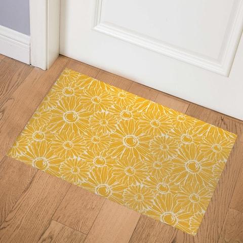 YELLOW MUMS Indoor Floor Mat By Kavka Designs