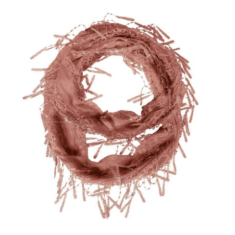 """Delicate Lace Sheer Infinity Scarf With Teardrop Fringes Lightweight scarves - length 64"""" width 11"""""""
