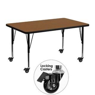 Fun & Games Activity Table 30''W x 48''L Rectangular Oak High Pressure Laminate Adj Short Legs w/Wheels