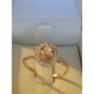 Miadora 14k Rose Gold Oval-Cut Morganite, White Topaz and Diamond Accent Halo Cocktail Ring