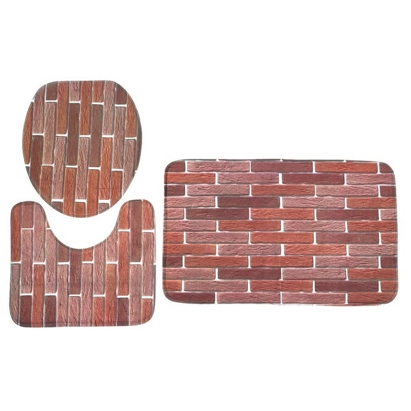 Bathroom Washable Non-slip Flannel Floor Mat Bath Rug Set 3 in 1 Pattern #3