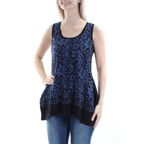 KAREN KANE Womens Blue Lace Floral Sleeveless Jewel Neck Trapeze Top Size: XS
