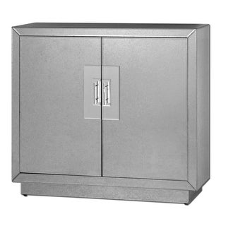 "38"" Contemporary Faceted Square Mirrored Cabinet with Chrome Doors"