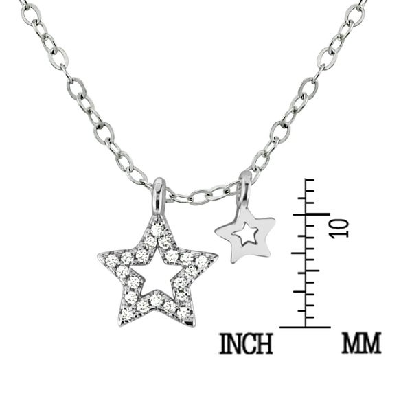 Handmade Shimmering Stars of Sterling Silver and Clear Crystal Pendant Necklace (Thailand) - White