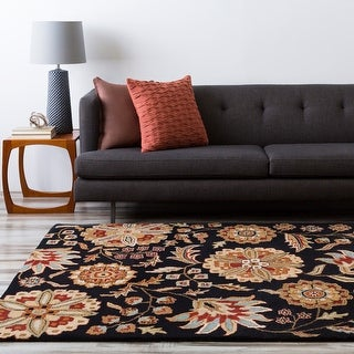 Hand-tufted Lily Pad Floral Square Wool Area Rug