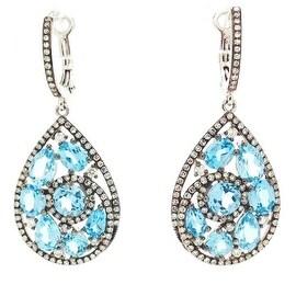 14K BLUE TOPAZ TEARDROP EARRINGS WITH DIAMONDS