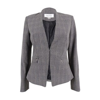 Calvin Klein Women's Petite Glen Plaid Zip-Pocket Blazer - grey (2 options available)