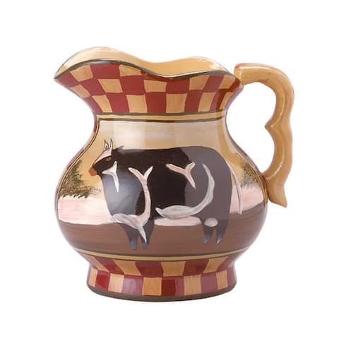 Hand Painted Display Pitcher Stoneware Cow Tan Brick Renovator's Supply