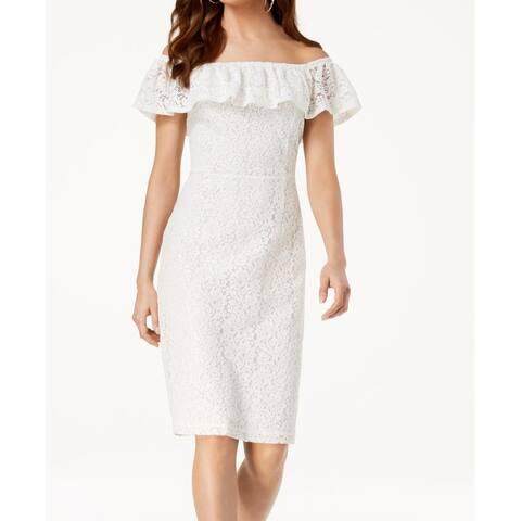 XOXO Dress White Size Medium M Junior Sheath Floral Lace Off-Shoulder