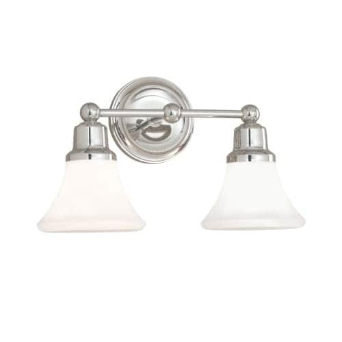 "Norwell Lighting 8952 Elizabeth 10"" Tall 2 Light Bathroom Vanity Light with White Glass Shades"