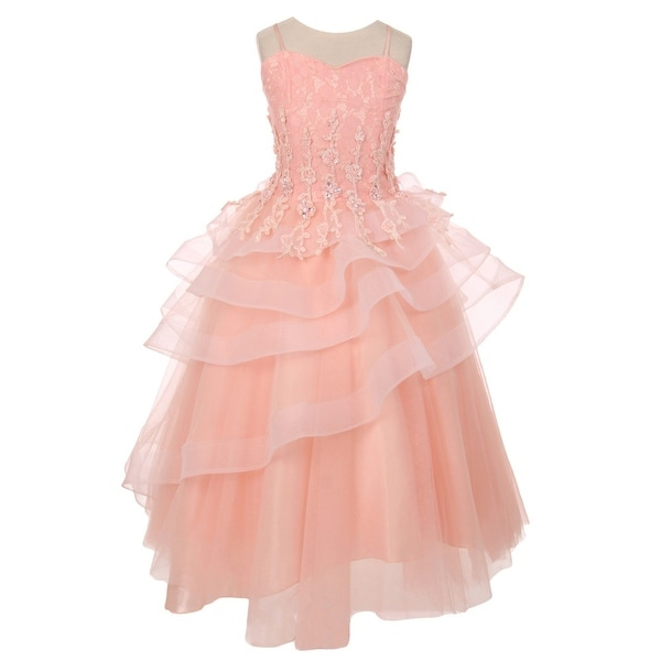 Shop Chic Baby Little Girls Blush Pink Lace Tiered Pageant -3004