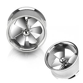 Surgical Steel Spinning Pinwheel Fan Double Flare Tunnels (Sold Individually)