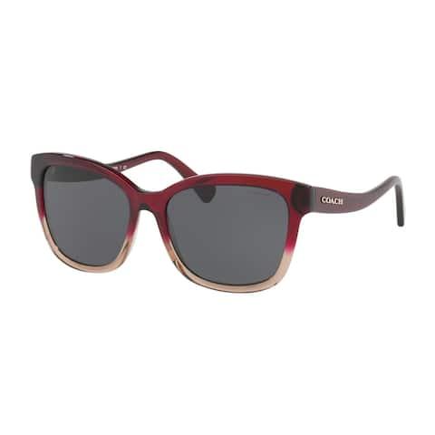Coach Women's HC8219F 548487 56 Dark Grey Solid Plastic Square Sunglasses
