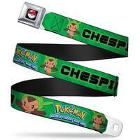 Pok Ball Full Color Pokmon & Y Chespin Poses Leaves Greens Webbing Seatbelt Belt