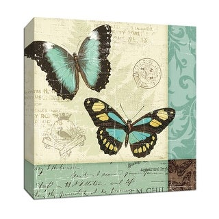 "PTM Images 9-152832  PTM Canvas Collection 12"" x 12"" - ""Butterfly Patchwork II"" Giclee Butterflies Art Print on Canvas"