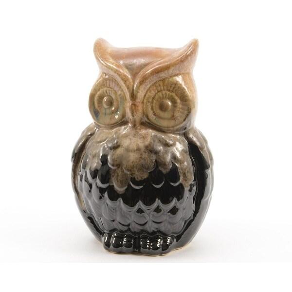 "6"" Luxury Lodge Porcelain Owl Decorative Christmas Table Top Decoration - brown"