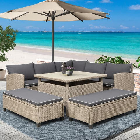 6-Piece Patio Furniture Set Outdoor Wicker Rattan Sectional Sofa with Table and Benches for Backyard, Garden, Poolside