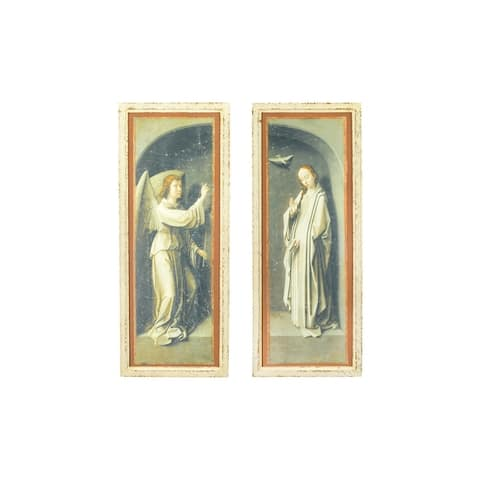 """59""""H Vintage Reproduction Angel & Mary Wall Decor with Distressed Finish & Wood Frame (Set of 2 Styles) - Distressed Black"""