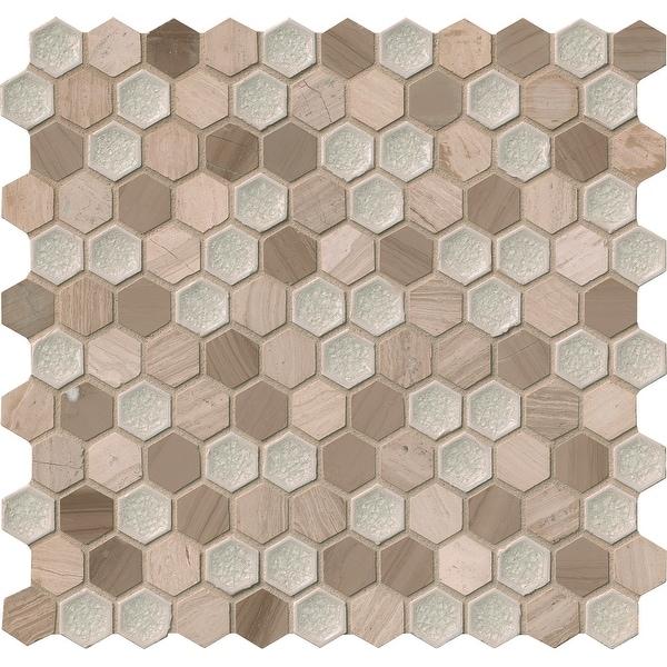 "MSI SMOT-SGLSGG-8MM 11-13/16"" x 11-5/8"" Hexagon Mosaic Sheet - Varied Glass and Stone Visual - Sold by Carton (9.5 SF/Carton)"