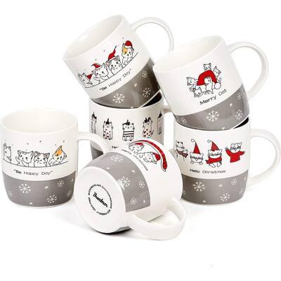 Bruntmor Set of 6 Christmas Cats Ceramic Coffee Mugs holiday-inspired mugs Christmas cat lovers gifts, 12 Oz
